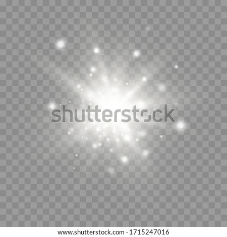 Glow bright star, the star burst with brilliance, white glowing light burst on a transparent background, white sun rays, light effect, flare of sunshine with rays, vector illustration, eps 10 Сток-фото ©