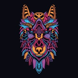 glow in the dark decorative wolf head from neon color