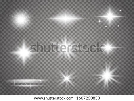 Glow isolated white transparent light effect set. Glowing lights effect, flare, explosion and stars.  Sparkling magical dust particles. Bright Star. Vector sparkles.
