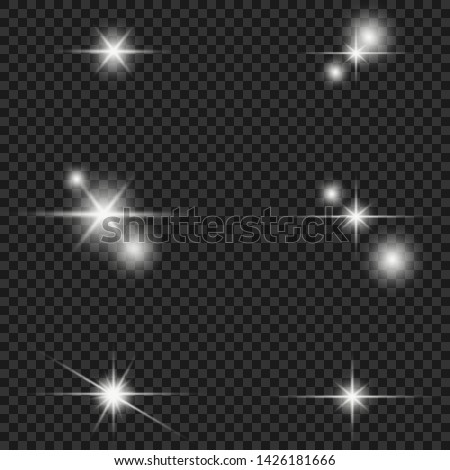 Glow isolated white transparent light effect set, lens flare, explosion, glitter, line, sun flash, spark and stars. Abstract special effect element design