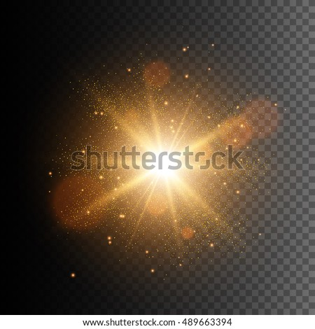 Glow light effect. Star burst with sparkles. Golden glowing lights
