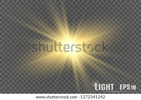 Glow light effect. Star burst with sparkles.Sun. Vector illustration