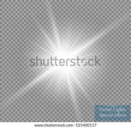 Glow light effect. Star burst with sparkles. Vector illustration. Sun  Foto stock ©
