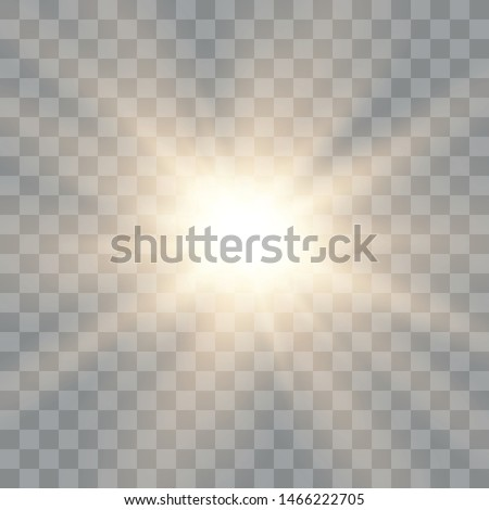 Glow light effect. Starburst with sparkles on transparent background. The star flashed. Sun. Vector illustration EPS10.