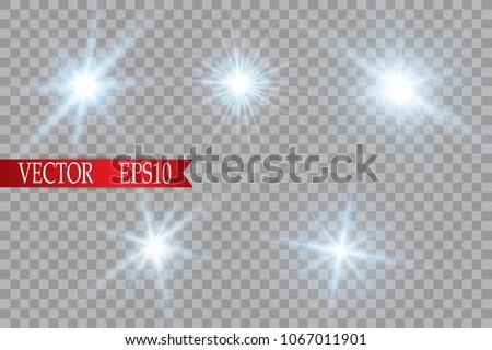 Glow light effect. Starburst with sparkles on transparent background. Vector illustration. Sun.EPS 10