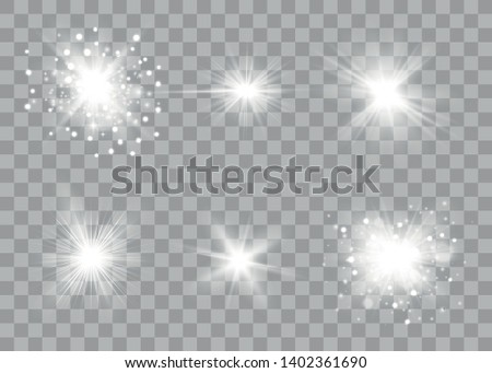 Glow light effect. Sun flash with rays and spotlight. Star burst with sparkles. Vector sparkles on a transparent background.