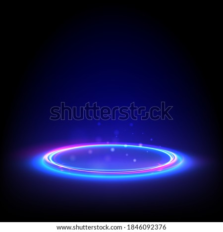 Glow neon circle. Blue glowing ring on floor. Abstract hi-tech background for display product. Vector template.