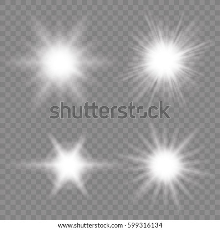 Glow of the glow. Sun rays. The star flashed sparks. Set - stock vector.