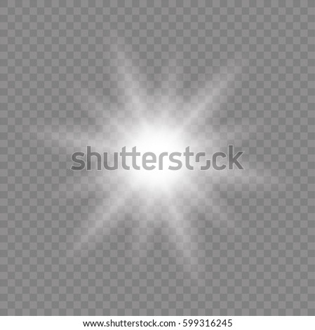 Glow of the glow. Sun rays. The star flashed sparks - stock vector.