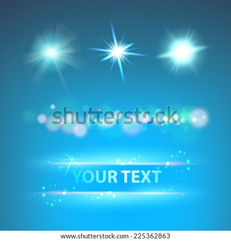 Glow sparks collection over night sky Vector illustration