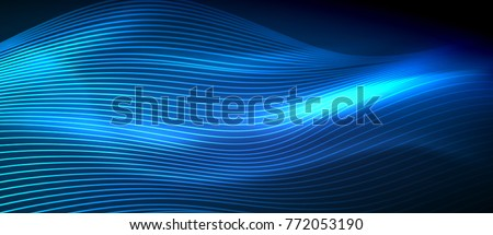 Glowing abstract wave on dark, shiny motion, magic space light. Vector techno abstract background, blue color