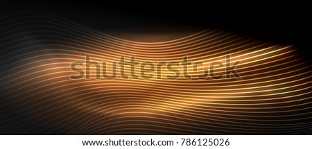 Glowing abstract wave on dark, shiny motion, magic space light. Vector techno abstract background, orange color