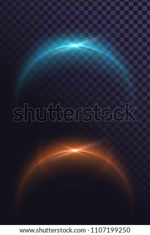 Glowing archs, glowing edge effect, eclipse, the edge of the planet and the rays of the sun