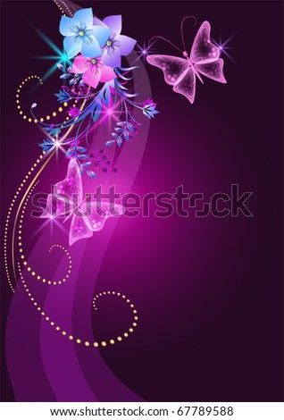 Glowing background with flowers, butterfly and stars