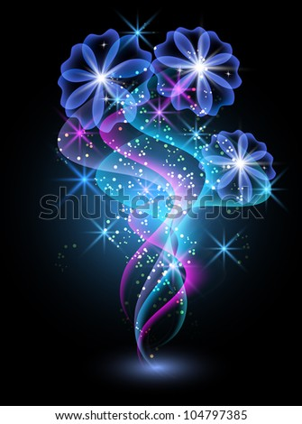 Glowing background with smoke, flowers and stars