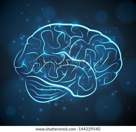 Glowing blue brain contours on black background. EPS10 vector medical background.