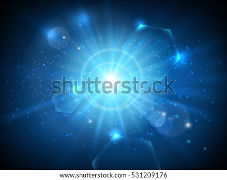glowing blue star in space