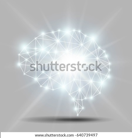 glowing brain polygon with