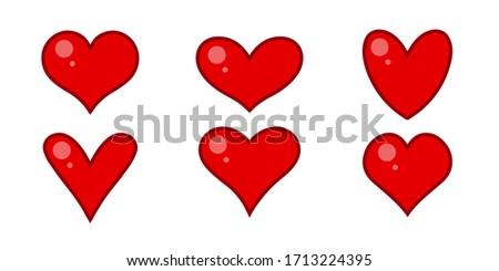 Glowing cartoon style heart symbols set. Isolated vector illustration.