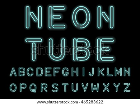 Glowing Cyan Neon Alphabet isolated and transparent. Custom handcrafted light tube font for design. Vector.
