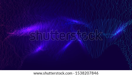 Glowing Cyberspace Particles Vector Background. Horizontal Technology Futuristic Blend Cool 3D Grid Cover Network Big Data Illustration. Trendy Banner, Landing Page, Software Digital Computing.
