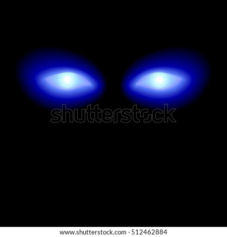 glowing electric blue eyes on a