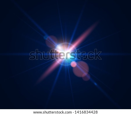 Glowing flash. Beautiful glare effect with bokeh, glitter particles and rays. Sparkling light effects of lens flare with colorful twinkle. Shining abstract background. Vector illustration.