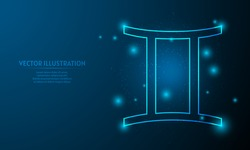 Glowing gemini icon on blue abstract background. low poly zodiac icon backgraound.