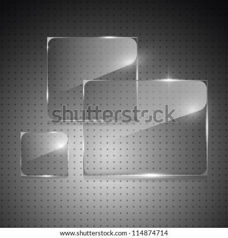 Glowing glass panels on a metal background. Vector.