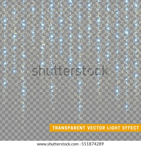 Glowing glitter light effects isolated realistic. Christmas decoration design element. Sunlight lens flare. Shining elements and stars. Blue texture. Transparent vector particles background.