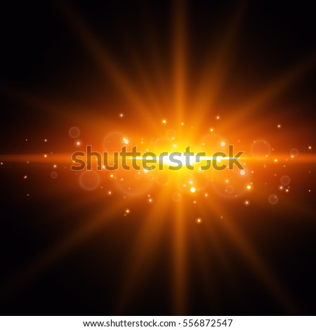 glowing golden lens flare