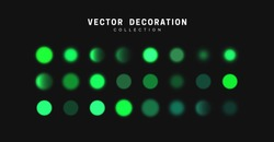 Glowing green bokeh lights. Sparkles vibrant blurry round dots glow texture. Set of design elements. vector illustration