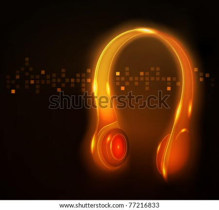 Glowing headphone, vector illustration