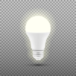 Glowing LED bulb isolated on transparent background. Vector illustration. Eps 10.