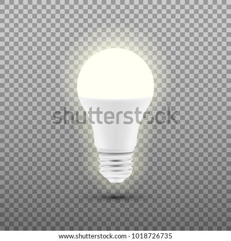 Glowing LED bulb isolated on transparent background. Vector illustration. Eps 10.