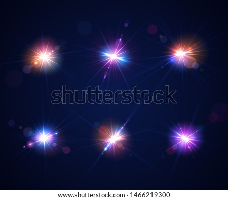 glowing lens flares set of