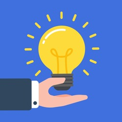Glowing light bulb floating over a hand of businessman. Creative concept of business idea, solution, innovation, or inspiration. Simple trendy cute cartoon vector illustration. Flat style graphic.