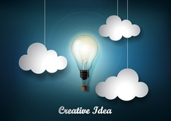Glowing light bulb is among a lot of cloud on dark blue background with Origami paper cut style, Representation of creative business idea concept,  Vector
