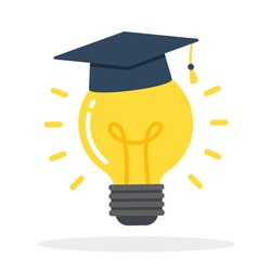 Glowing light bulb with graduation cap floating. Creative concept of knowledge, education, idea, learning, solution, or inspiration. Simple trendy cute cartoon vector illustration. Flat style icon.