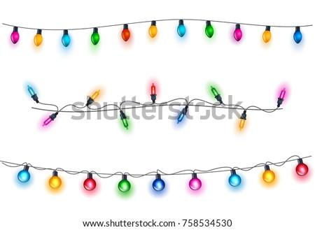 Glowing light bulbs design.Garlands, Christmas decorations.