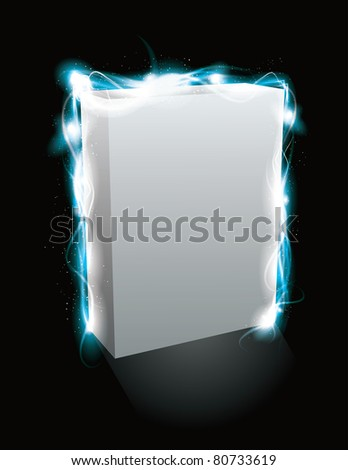 Glowing light effect box product mockup. EPS10 file with transparency