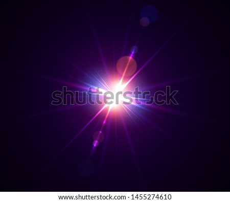 Glowing light effect. Lens flare with bokeh, glitter particles and rays. Sparkling glare of bright flash with colorful twinkle. Shining abstract background. Vector illustration.