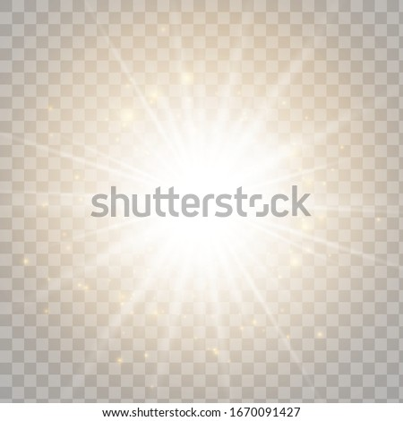 Glowing light effect on transparent background. Vector illustration EPS10.