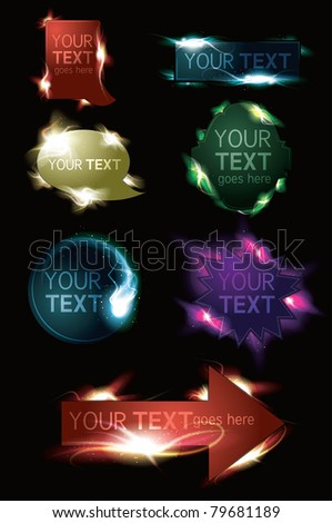 Glowing light effect sparkling design element web button collection