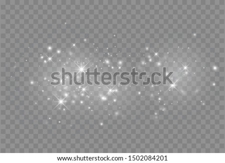 Glowing light effect with many glitter particles isolated on transparent background. Vector starry cloud with dust. Magic christmas decoration