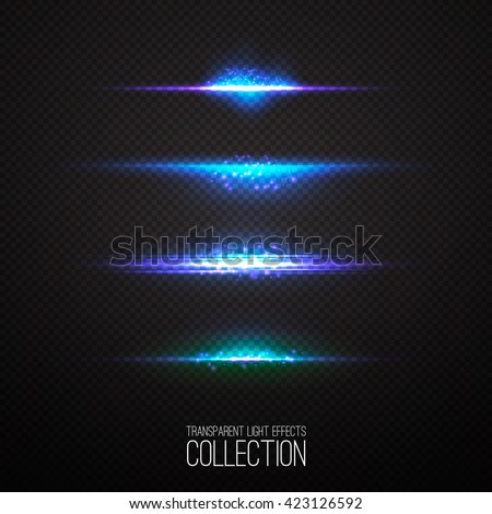 Glowing light effects collection isolated on transparent. Optical flare objects .  Vector collection of abstract flashes .  - Shutterstock ID 423126592