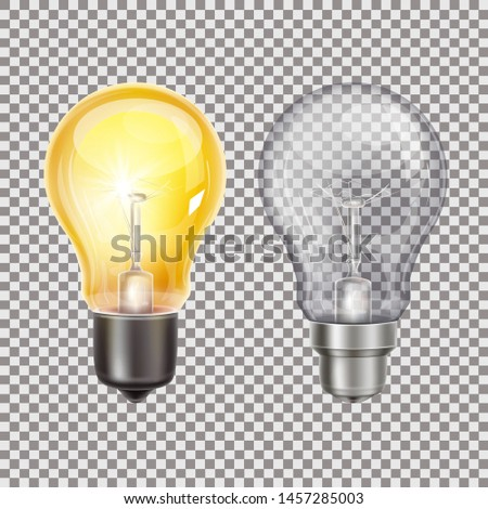 Glowing lightbulb and off lightbulb on the transparent background.Vector illustrations.