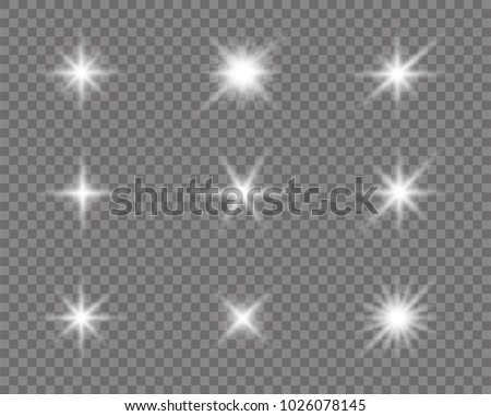 Glowing lights effect, flare, sun and stars. Stock vector