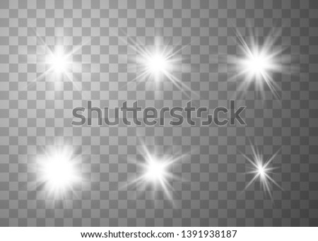 Glowing lights effect. Star burst with sparkles. Special effect isolated on transparent background. Vector illustration eps10.