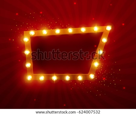 Glowing lights retro frame for advertising design. Special light effects. Vintage stage lights backdrop. Vector Background show. Illuminated round realistic banner. 3D.